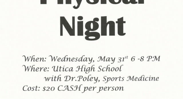 SPORTS PHYSICAL NIGHT!  5/31/17