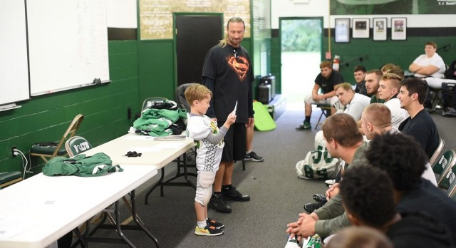 1st grader Cole Swafford gives inspirational speech to the Bolts on championship week