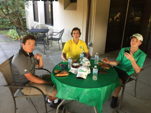 Cole, Noah and David chowing down.