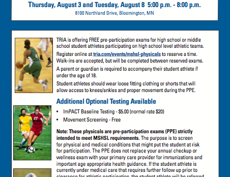 MSHSL Sports Physical Opportunities