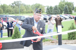 The ribbon is cut on Thursday afternoon, officially opening Monticello Veterans Stadium