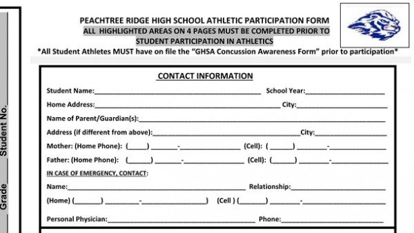 New Athletic Participation Form Available - Peachtree Ridge Lions