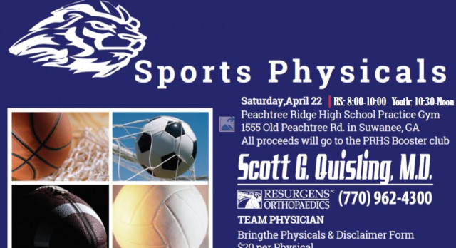 Sports Physicals – Saturday 4/22