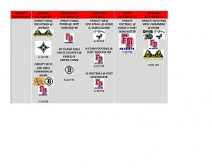 weekly schedule september 9 thru 13