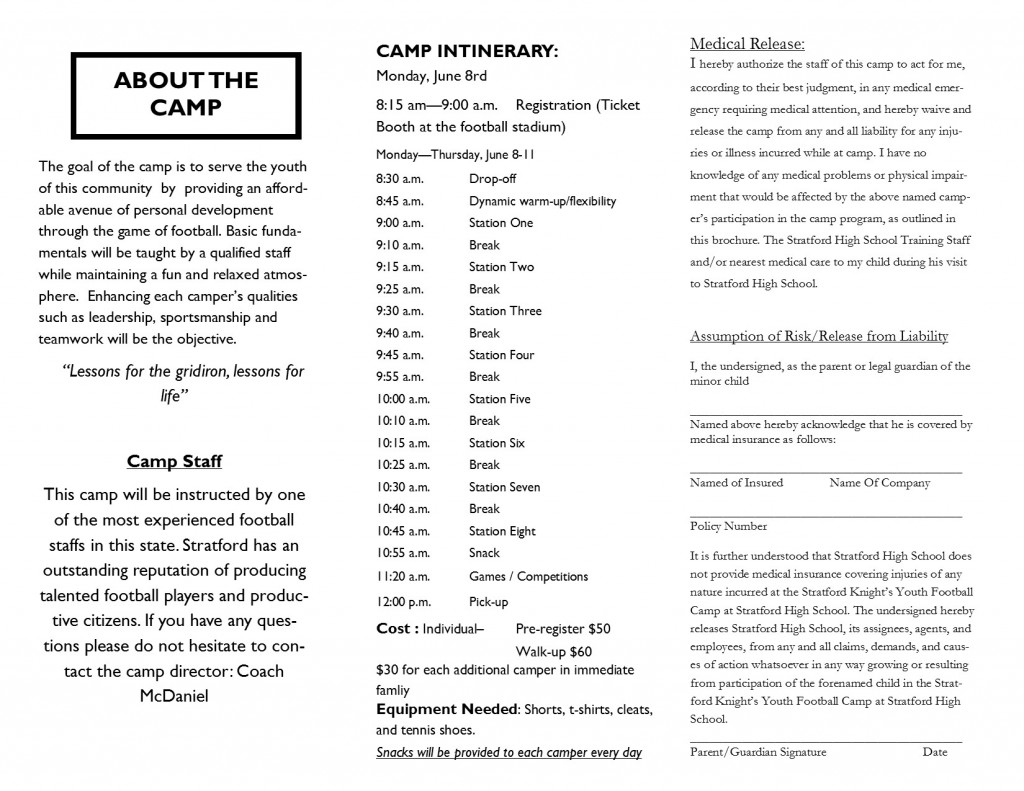 YOUTH FOOTBALL CAMP - This is the home of stratfordathletics.net