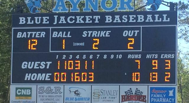 Aynor High School Varsity Baseball beat Myrtle Beach High School 10-7