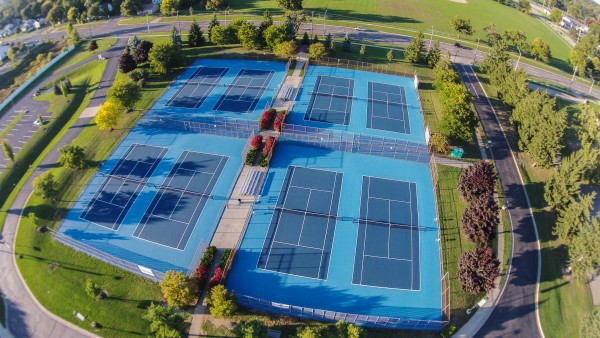 Arial view of refurbished tennis courts