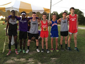 Cavalier Landon Beeson, fifth from left, was named to the All-Region Cross Country Team.