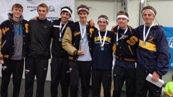 Saline's runners pick up the trophy at Portage