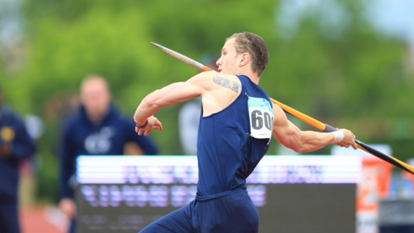 The University of Michigan men's track and field team competes on the second day of the Big Ten Championships. Happy Valley, PA, May 13, 2017