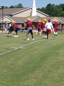 Coach Temple directs the Abbeville offense vs Seneca