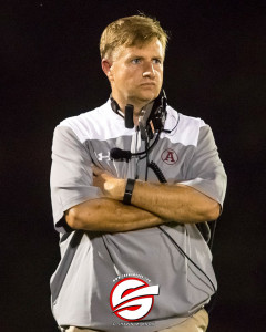 Abbeville Head Coach Jamie Nickles leads the Panthers to victory. Pic by Shawn Knox Images