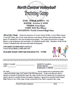 NCHS Volleyball Camp THIS ONE