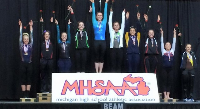 Lauren Graham takes 3rd in beam, team finishes 12th in gymnastics State Finals