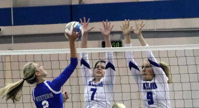 Lakeland High School Girls Varsity Volleyball beat Walled Lake Western High School 3-0