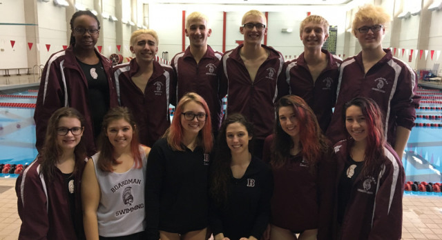 Boys and Girls Senior Swimmers Honored at Last Home Meet of The Season