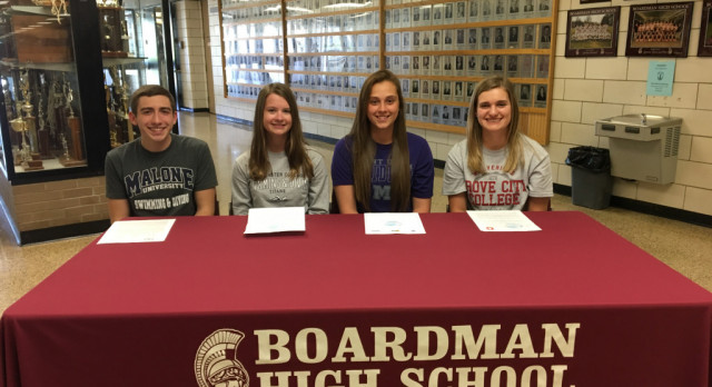 Four Spartan Athletes Sign National Letters of Intent To Compete In College