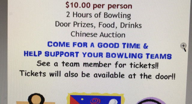 Come To The Bowling Fundraiser This Sunday From 7:00 P.M. – 9:00 P.M. – Cosmic Bowling Tournament