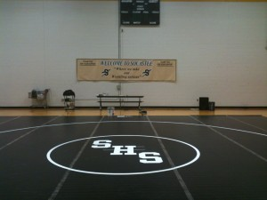 Most home wrestling matches are wrestled in the mini gym.(Wrestling Gym)
