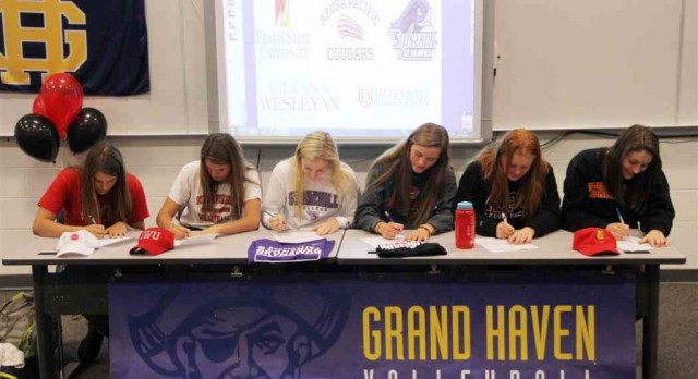 Grand Haven volleyball celebrates early signing period
