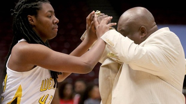 Coach Bell and Kaitlyn Rodgers in Alabama-Mississippi All-Star Game