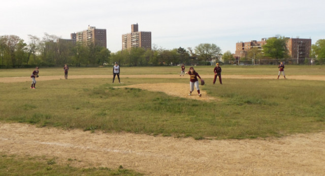 Girls Play Two, Win Two on Coney Island Ballfields