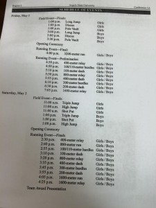 Regional Track Schedule