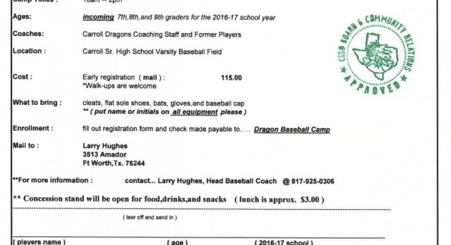 Dragon Baseball Summer Camp – July 25-27