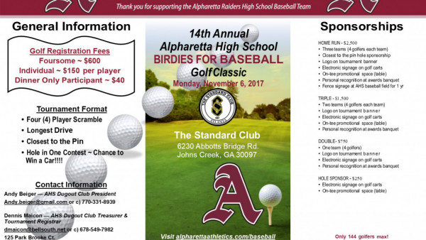 2017 AHS Birdies for Baseball Brochure -Page 1