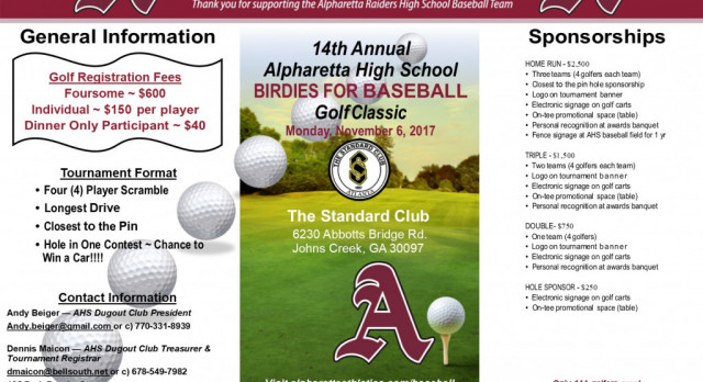 AHS Birdies for Baseball Golf Class & Live Auction is Monday – Sign Up Today!