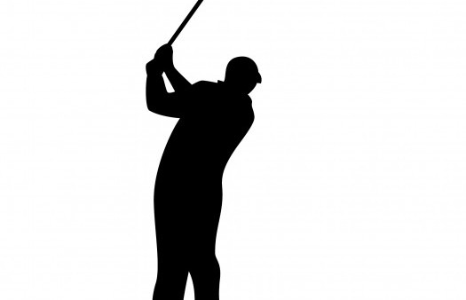 black and white golf tee off image