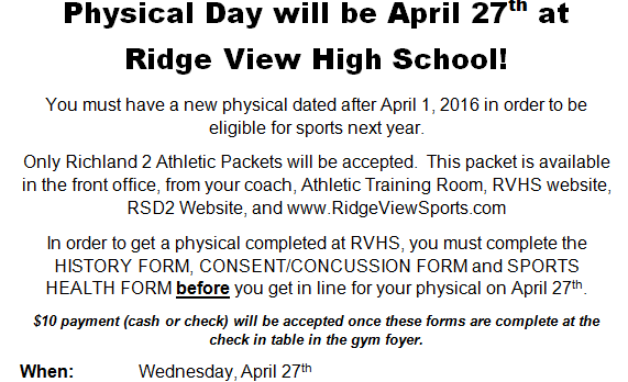 RVHS Physical Day April 27!