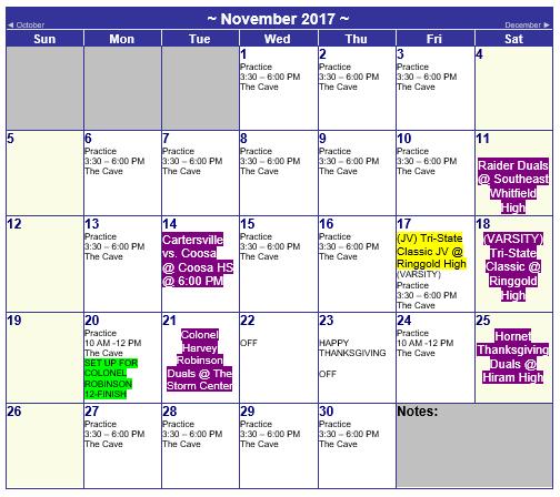 november calendar events