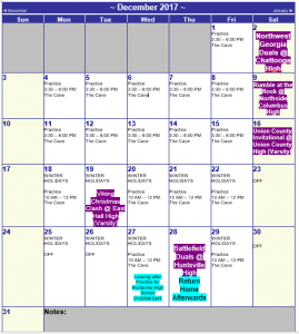 Wrestling December 2017 Calendar of Events