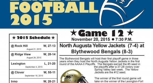 Football Game Notes:  Bengals Set To Open Playoffs At Home Against North Augusta