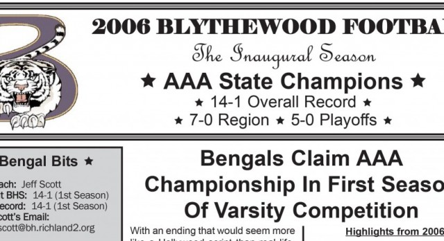 2006 State Champions To Be Honored At Halftime