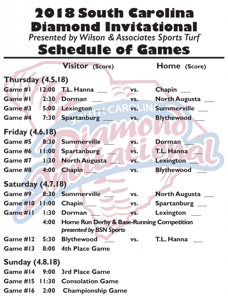 2018 South Carolina Diamond Invitational Schedule