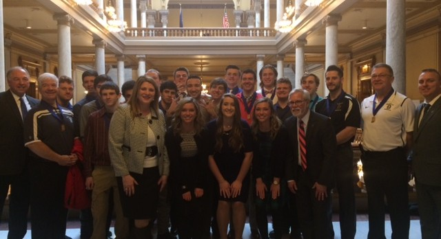 Baseball Team and Trio of Singers visit Statehouse
