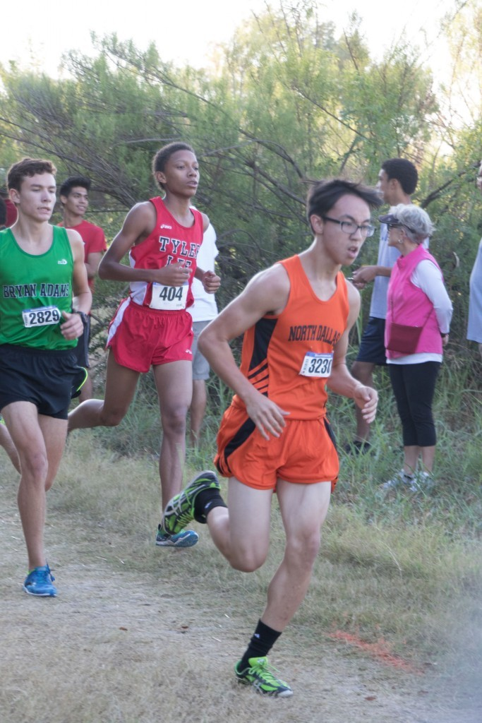 Vincent Vo, competing in an earlier meet, had the best time among the varsity boys runners.