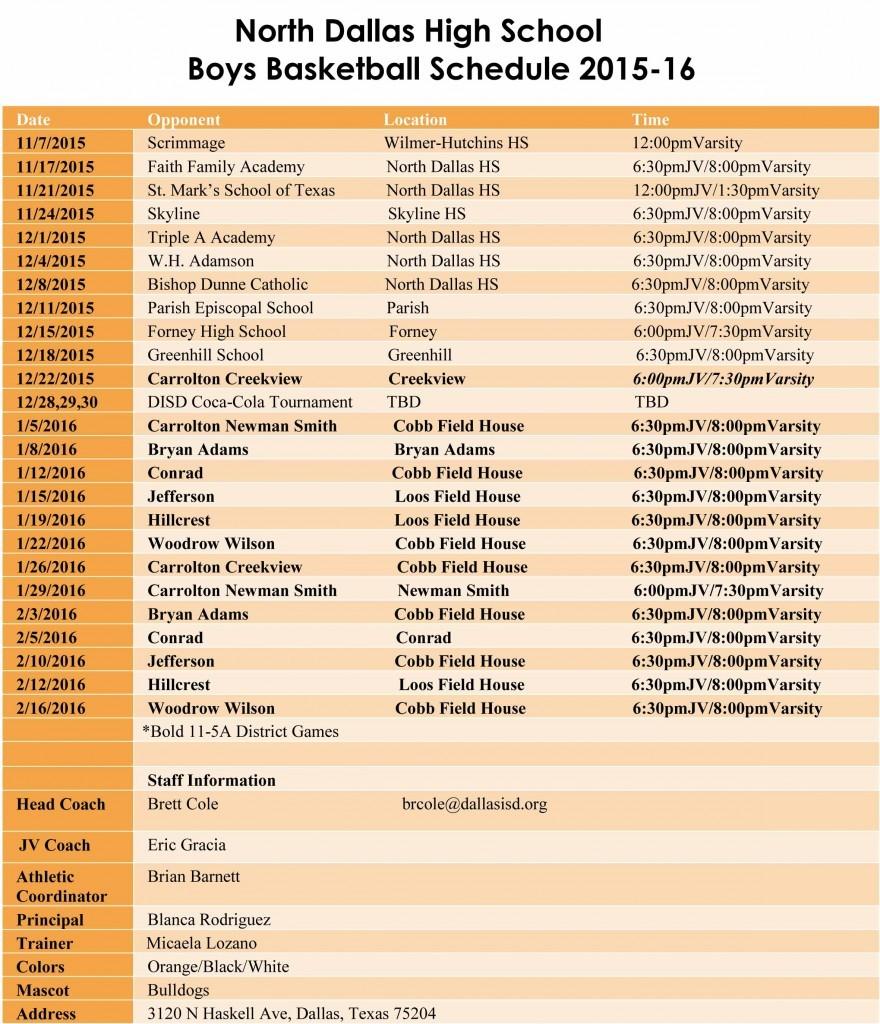 North Dallas HS 2015-16 Boys Basketball Schedule