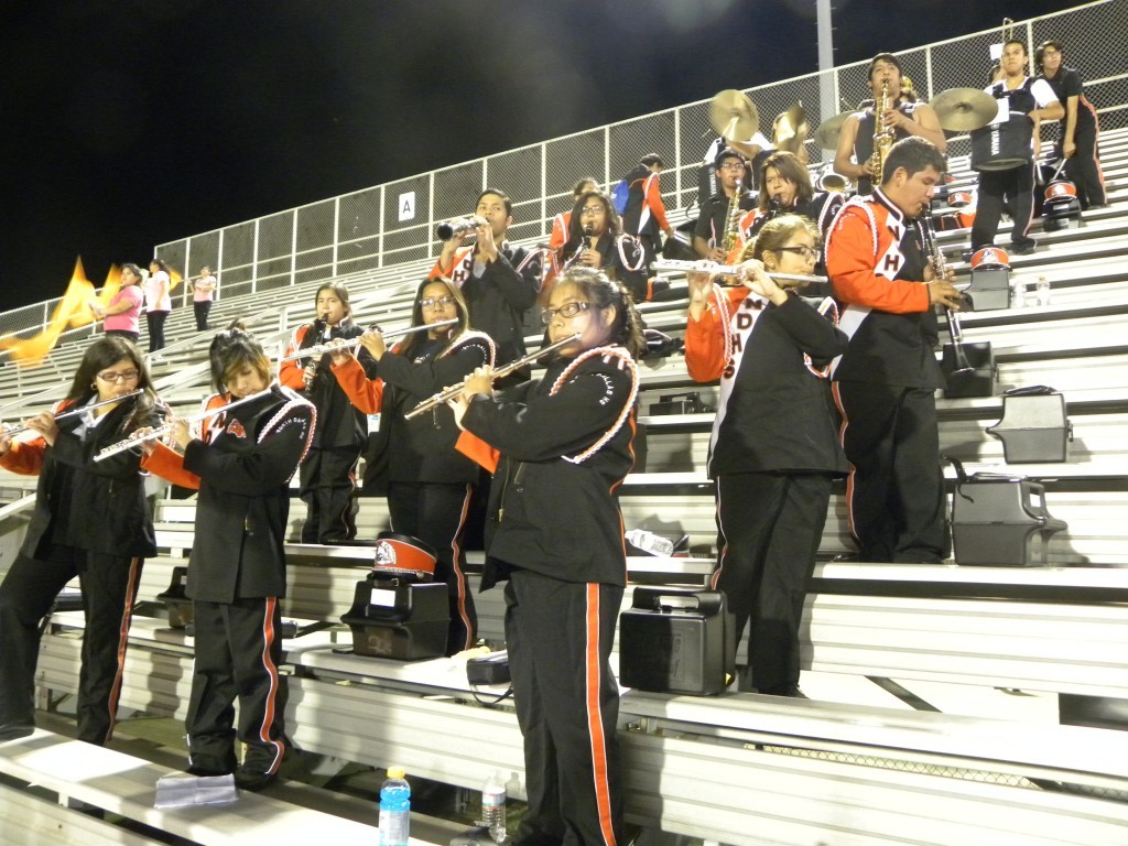The North Dallas bands plays the alma mater at the end of the game.