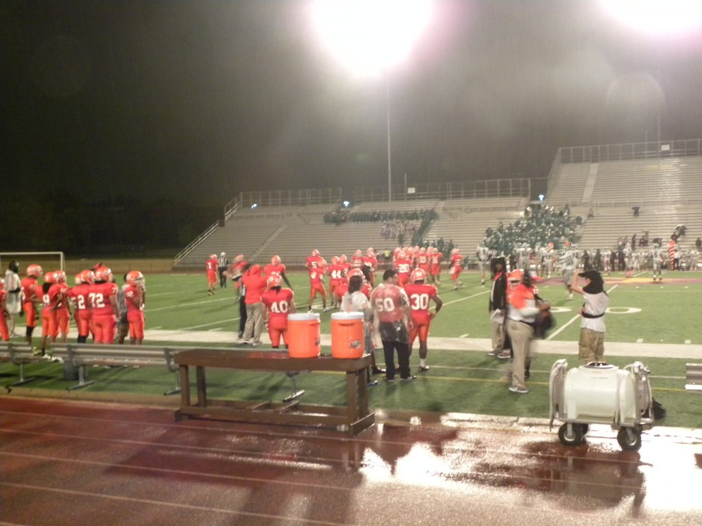 The game began in the rain but was halted in the second quarter because of lightning.