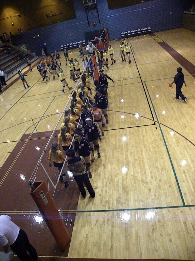 The teams shake hands at the end of the match.
