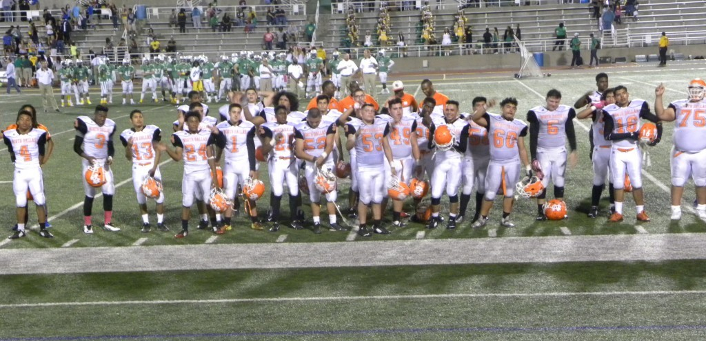The Bulldogs gather for the alma mater.