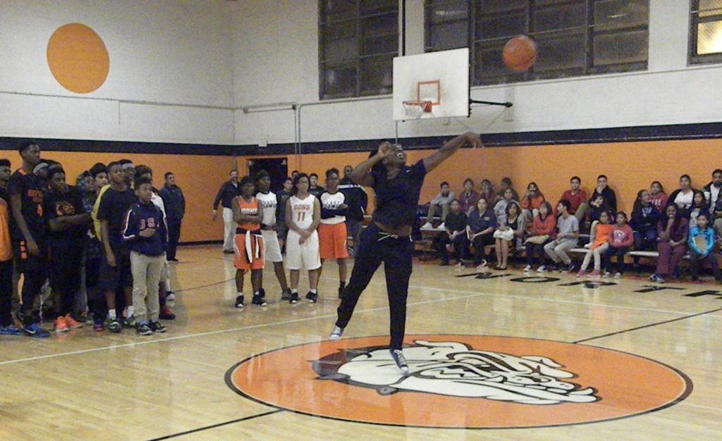 Kymberly Jackson gives her best shot in the half-court shot.