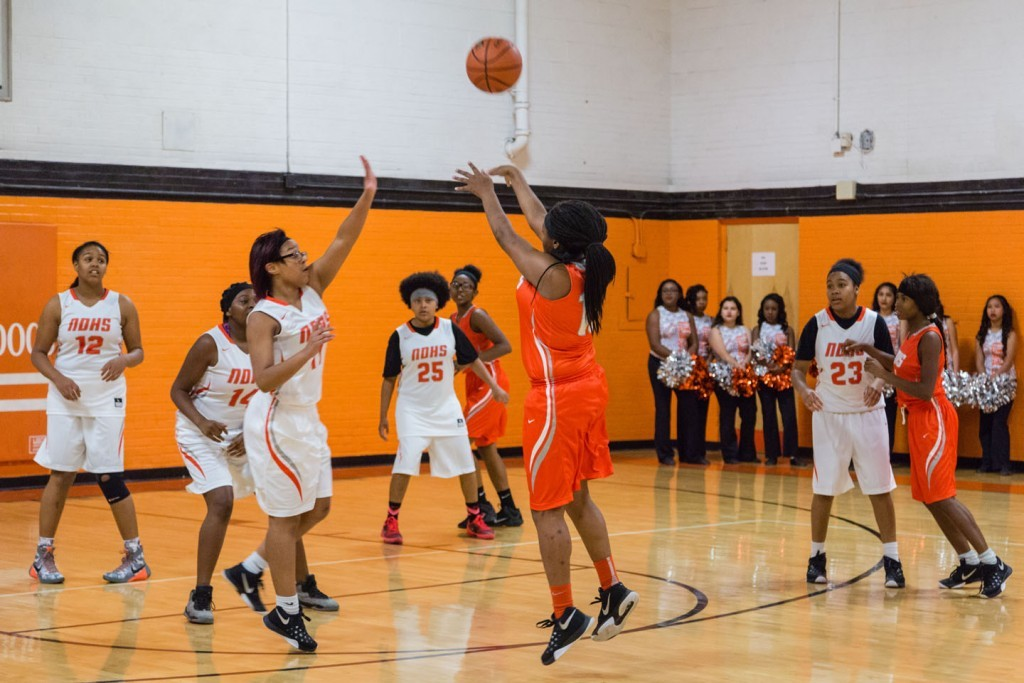 Senior Sharae Campbell takes her shot in the recent Orange & White Classic.