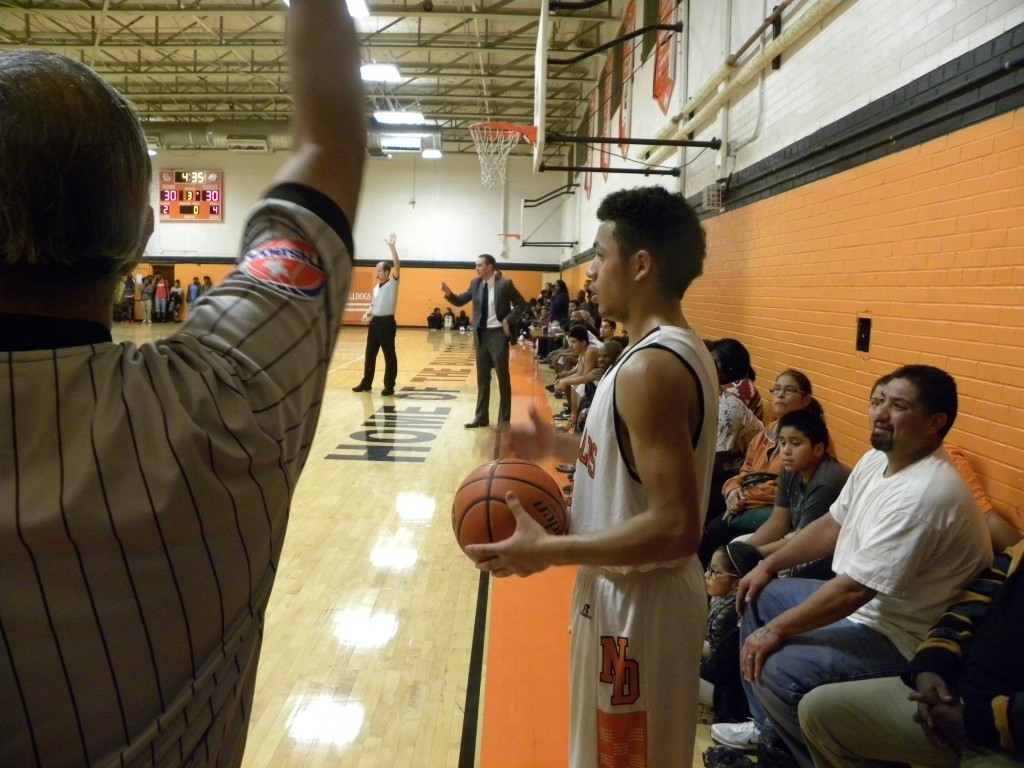 Guard Paul Gandara prepares to in-bound the ball.