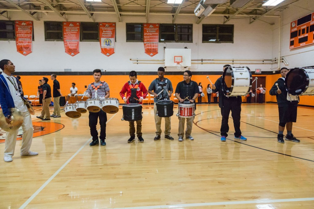 The North Dallas drum line performed last year.