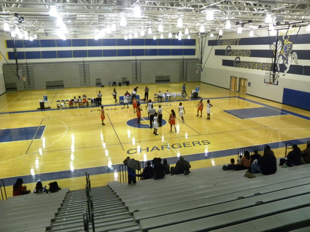 Conrad High School has a spacious  gym.