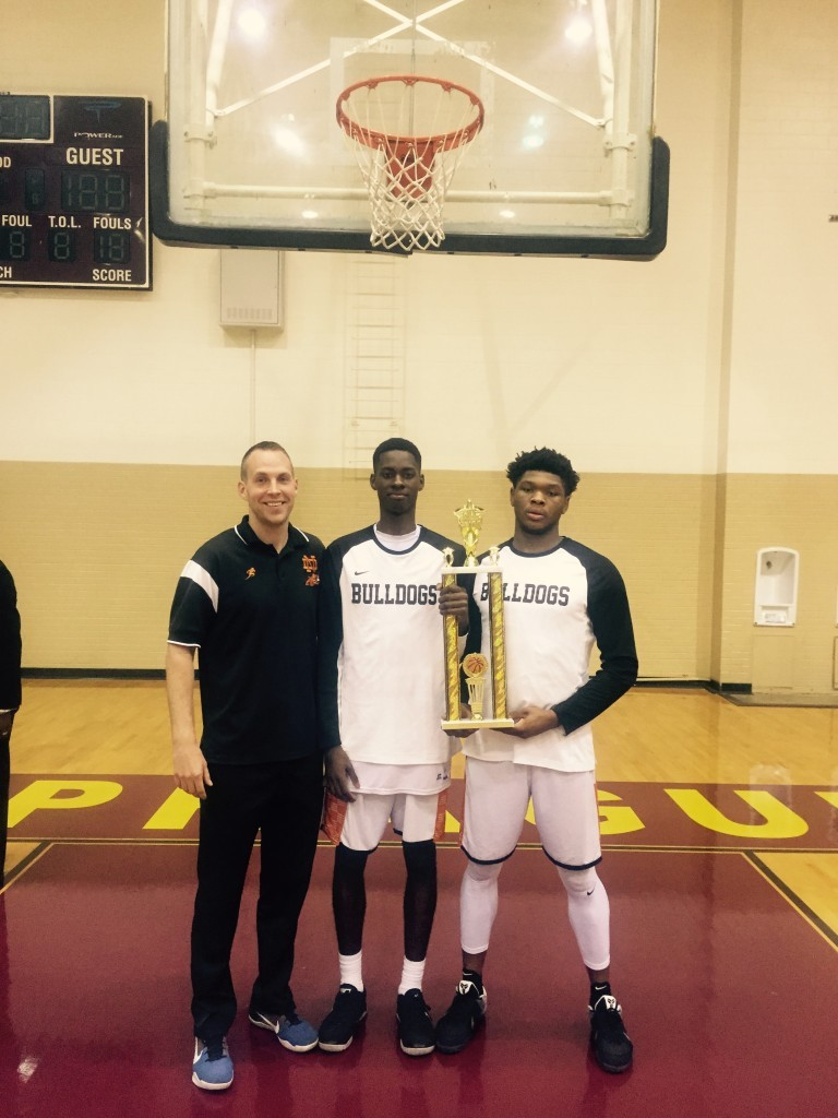 ND Coach Brett Cole and his All-Star Bulldogs, Darius Watts (middle) and Kobe Wrice.
